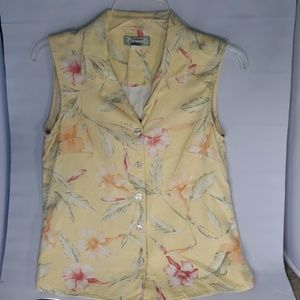 Tommy Bahama yellow silk blouse, sz s.